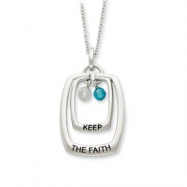 Sterling Silver Antiqued CZ Keep The Faith 18in Necklace