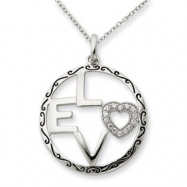 Sterling Silver Antiqued CZ Love 18in Necklace