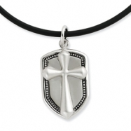 Sterling Silver Antiqued Our Shield 22in Rubber Cord w/2in ext Necklace