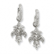 Sterling Silver CZ Fleur de lis Earrings