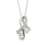 Sterling Silver CZ Note Of Praise 18in Necklace