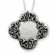 Sterling Silver Antiqued Dieters Cross 18in Necklace