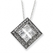 Sterling Silver Antiqued CZ Cornerstones Of Integrity 18in Necklace