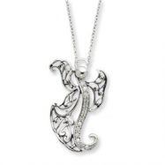 Sterling Silver Antiqued CZ Angel of Optimism 18in Necklace