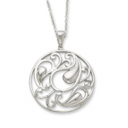 Sterling Silver Antiqued I Am Sharing Your Sorrow 18in Necklace