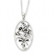 Sterling Silver Antiqued I Celebrate The Day You Were Born 18in Necklace