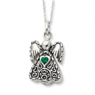 Sterling Silver Antiqued May CZ Birthstone Angel Ash Holder 18in Necklace