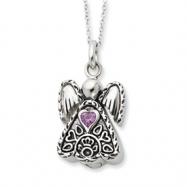 Sterling Silver Antiqued June Birthstone Angel Ash Holder 18in Necklace