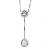 Sterling Silver Checker-cut CZ 17in w/2in ext Necklace chain