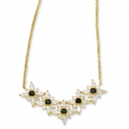 Gold-plated Sterling Silver Blk/Wht CZ Floral 18in Necklace chain
