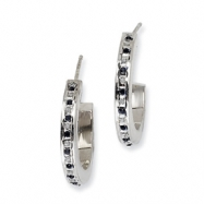 Sterling Silver & Platinum-plated Dia. & Sapphire Round Post Hoop Earrings