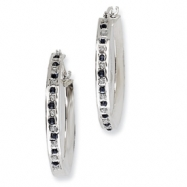 Sterling Silver & Platinum-plated Dia. & Sapphire Round Hinged Hoop Earring
