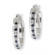 Sterling Silver & Platinum-plated Dia. & Sapphire Oval Hinged Hoop Earrings