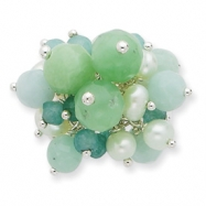 Sterling Silver Amazonite/Green Jade/FW Cultured Lt.Green Pearl Ring