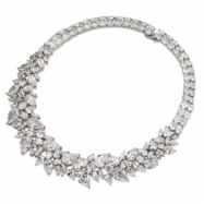 Sterling Silver CZ Fancy 15in Collar Necklace chain