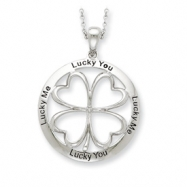 Sterling Silver Antiqued Lucky Me, Lucky You 18in Necklace