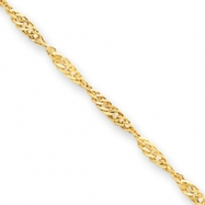 14k 3.00mm Singapore Anklet
