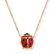 14k  Enameled Ladybug Necklace
