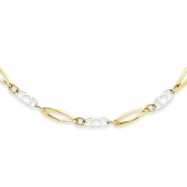 14k Two-Tone 17in Polished Fancy Link Necklace chain