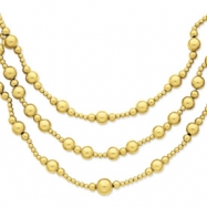 14k Three-strand Fancy Bead Necklace chain