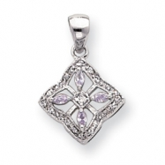 18in Rhodium-plated Lavender CZ Filigree Necklace chain