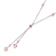 16in Rhodium-plated Pink Crystal Y-Necklace chain