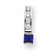 18in Rhodium-plated White & Square Blue CZ Necklace chain