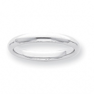 Platinum 3mm Half-Round Comfort Fit Lightweight Band ring