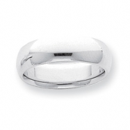Platinum 6mm Half-Round Comfort Fit Lightweight Band ring