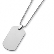 Tungsten Polished Dog Tag Necklace chain