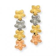 14K Tri-Color Plumeria Earrings
