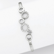 Sterling Silver CZ Circles Cuff Bangle