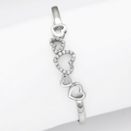 Sterling Silver CZ Hearts Cuff Bangle
