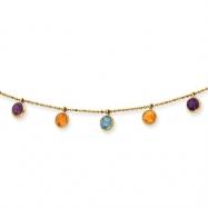 14K Multi-color Gemstone Necklace chain