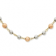 14K Tri-Color Fancy Mirror Beaded Necklace chain