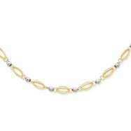 14K Two-Tone Fancy Mirror Bead Necklace chain