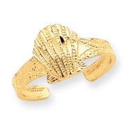14K Diamond-cut Scallop Shell Toe Ring