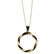 14k & Chocolate Rhodium Twisted Pendant Necklace chain