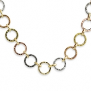 14k & Rhodium Multicolored Textured Necklace chain