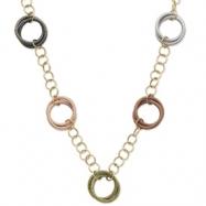14k & Rhodium Multicolor Circles Necklace chain
