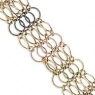 14k & Rhodium Multicolor Five Strand Bracelet