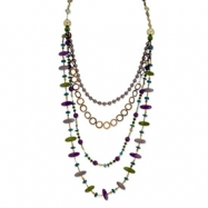 "Silver-tone Multicolor Hamba Wood/Coconut/Sequin 24"" Slip-on Necklace"""""