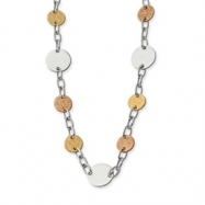Stainless Steel Gold and Rose IP Plated Circle Necklace chain
