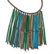 Silver-tone Bamboo & Acrylic Bead Necklace