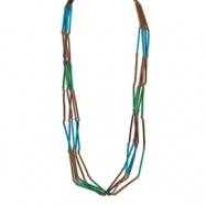 Silver-tone Bamboo & White Wood Aster Slip-on Necklace
