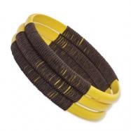 Yellow Enameled Rattan w/ Wax Cord 70mm Bangle