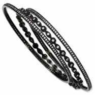 Black-plated Sterling Silver CZ Three Bangle Set