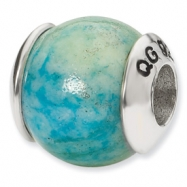 Sterling Silver Reflections Blue Yellow Recon Serpentine Stone Bead