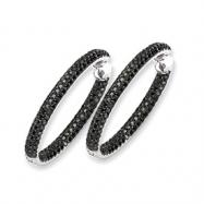 14k White Gold Black Diamond In-Out Hoop Earrings