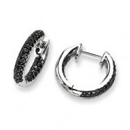 14k White Gold Black Diamond Hinged Hoop Earrings